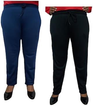Indiweaves Women Regular fit Fleece Solid Track pants - Black & Blue
