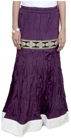 IndiWeaves Women Cambric Cotton Purple Full Length Skirt