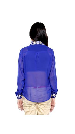 1 IndiWeaves amp; 1 Georgette Pack Cotton Women's Shirts Shirt of 2 55r6qxwZR