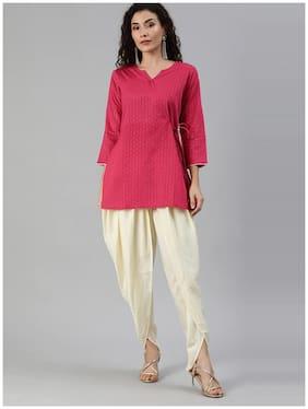 Indo Era Black Solid A-Line Kurta with Dhoti Pant Set