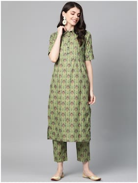 INDO ERA Women Green Floral Straight Kurta With Trousers