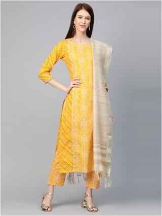 INDO ERA Women Yellow Bandhani Straight Kurta With Trousers And Dupatta