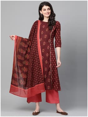 Indo Era Cotton Floral Maroon Kurta Palazzo With Dupatta Women