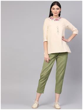Indo Era Embroidered Off White Straight Kurta with Pant Set