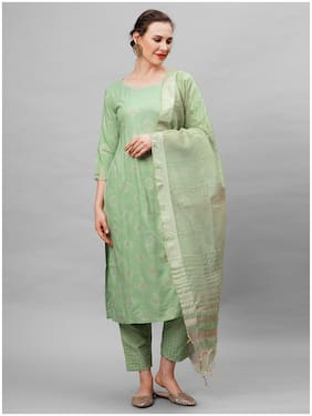 Indo Era Green Foil Printed Kurta With Trouser And Dupatta