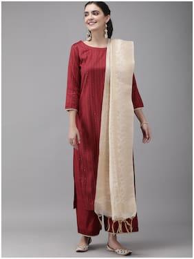 INDO ERA Women Maroon Striped Straight Kurta With Palazzo And Dupatta