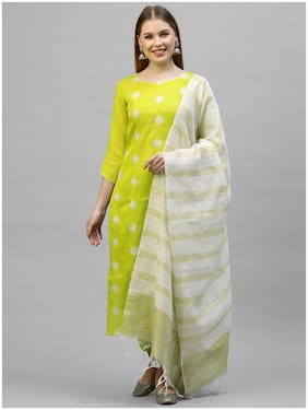 INDO ERA Women Yellow Ethnic Motifs Straight Kurta With Trousers And Dupatta