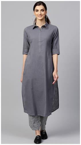 INDO ERA Women Cotton Straight Kurta With Pants Grey color