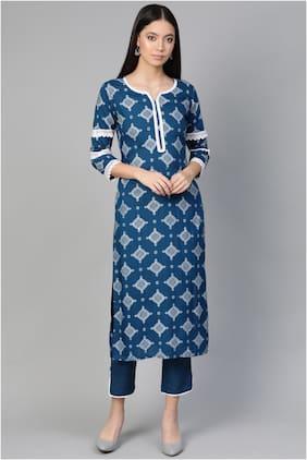 INDO ERA Women Blue Floral Straight Kurta With Palazzo