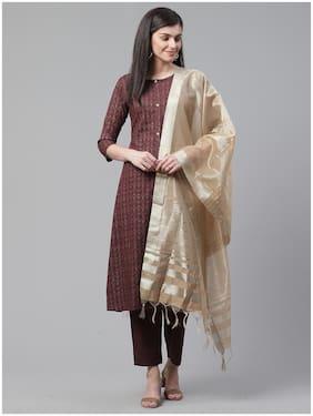 Indo Era  Women Viscose Rayon Floral Brown Kurta Trousers With Dupatta