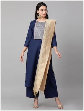 INDO ERA Women Navy Blue Solid Straight Kurta With Palazzo And Dupatta