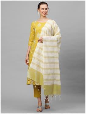 Indo Era  Women Cotton Ethnic Motifs Olive Kurta Trousers With Dupatta