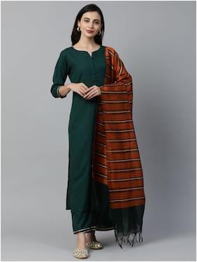 INDO ERA Women Green Solid Straight Kurta With Palazzo And Dupatta