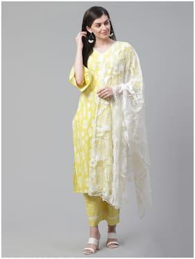 INDO ERA Women Yellow Floral Straight Kurta With Palazzo And Dupatta