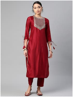 INDO ERA Women Red Solid Straight Kurta With Trousers