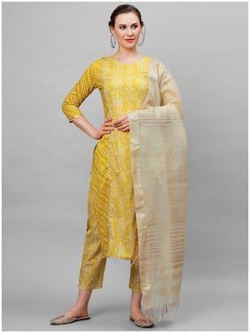 Indo Era  Women Cotton Bandhani Olive Kurta Trousers With Dupatta