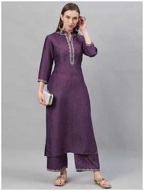 INDO ERA Women Purple Solid Straight Kurta With Palazzo