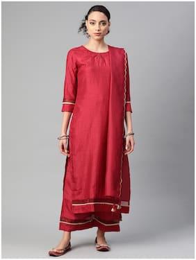 INDO ERA Women Maroon Solid Straight Kurta With Trousers And Dupatta