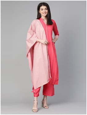 INDO ERA Women Pink Solid Straight Kurta With Palazzo And Dupatta