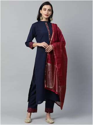 INDO ERA Women Navy Blue Solid Straight Kurta With Trousers And Dupatta