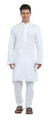 Indo Plan Kurta Pyjma Set For Men White Color 100% Cotton