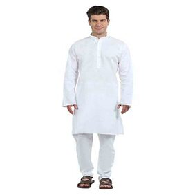 Indo White Plain Kurta Pyjama set