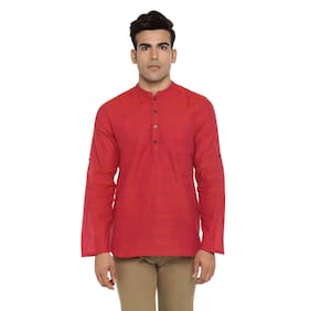 Indus Route by Pantaloons Men Short Cotton Solid Kurta - Red