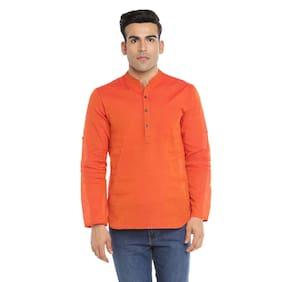 Indus Route by Pantaloons Men Short Cotton Solid Kurta - Brown