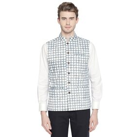 Indus Route by Pantaloons Men Cotton Regular Fit Waistcoat - Blue & White