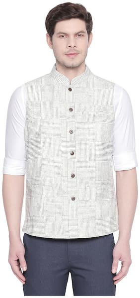 Men Checked Cotton Ethnic Jacket