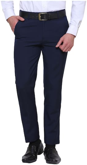 INSPIRE CLOTHING INSPIRATION Men Solid Slim Fit Formal Trouser - Blue