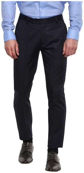 INSPIRE CLOTHING INSPIRATION Men Solid Slim Fit Formal Trouser - Navy Blue