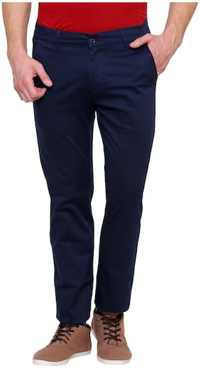 Inspire Blue Slim Casual Chinos For Men