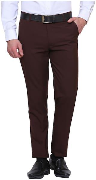 INSPIRE CLOTHING INSPIRATION Men Solid Slim Fit Formal Trouser - Brown