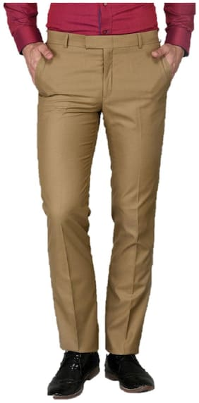 INSPIRE CLOTHING INSPIRATION Men Solid Slim Fit Formal Trouser - Gold