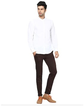Inspire Men Brown Solid Slim fit Chinos