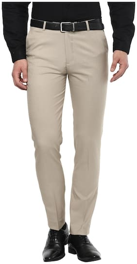 INSPIRE CLOTHING INSPIRATION Men Solid Slim Fit Formal Trouser - Beige