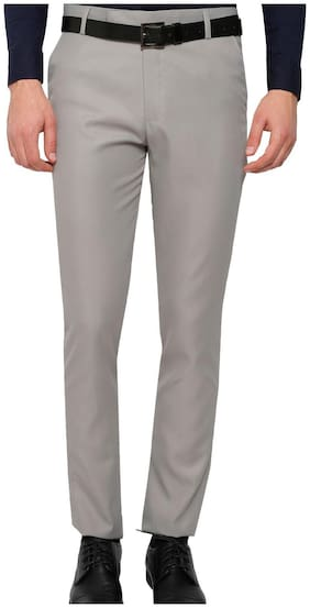 Inspire Men Solid Regular Fit Formal Trouser - Grey
