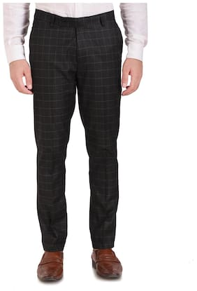 INSPIRE CLOTHING INSPIRATION Men Checked Slim Fit Formal Trouser - Black