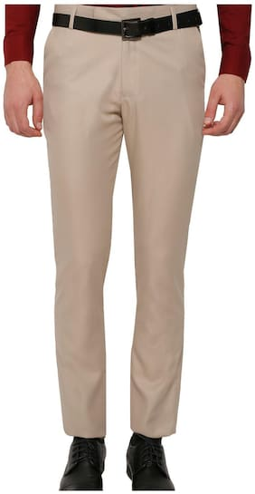Inspire Men Solid Slim Fit Formal Trouser - Beige