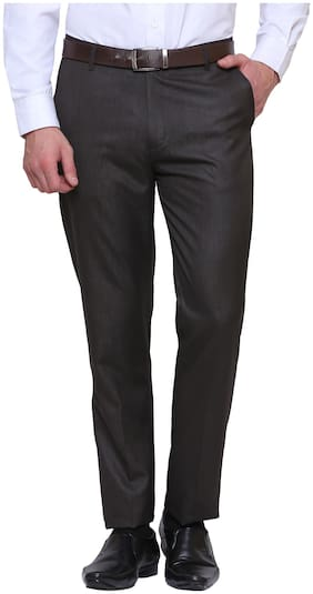 INSPIRE CLOTHING INSPIRATION Men Solid Slim Fit Formal Trouser - Brown