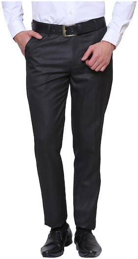 INSPIRE CLOTHING INSPIRATION Men Solid Slim Fit Formal Trouser - Black
