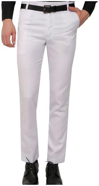 Inspire Men Solid Slim Fit Formal Trouser - White