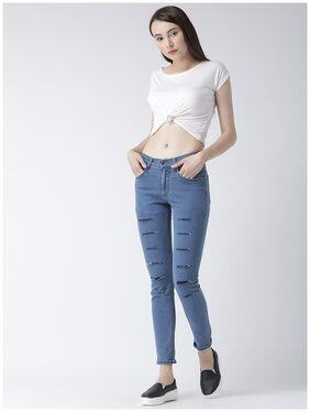 Inthyng Women Slim Fit Mid Rise Solid Jeans - Blue