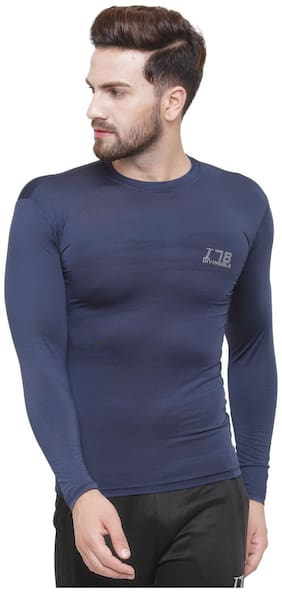 Invincible Men Navy blue Compression Polyester Round neck T-Shirt - Pack Of 1