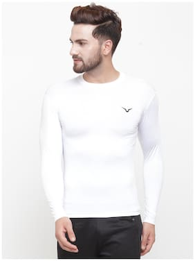 Invincible Men White Compression Polyester Round neck T-Shirt - Pack Of 1