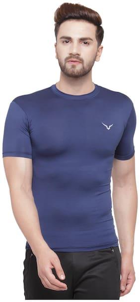 Invincible Men Navy blue Compression Lightweight Sports T-Shirt