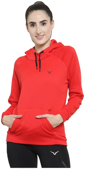 Invincible Women Solid Hoodie - Red