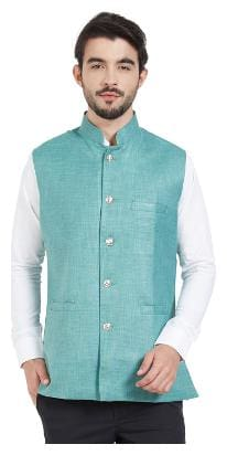 IRIN Men Blue Solid Regular Fit Ethnic Jacket