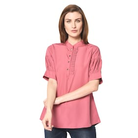 IRIS FASHIONS Women Solid Fusion top - Pink